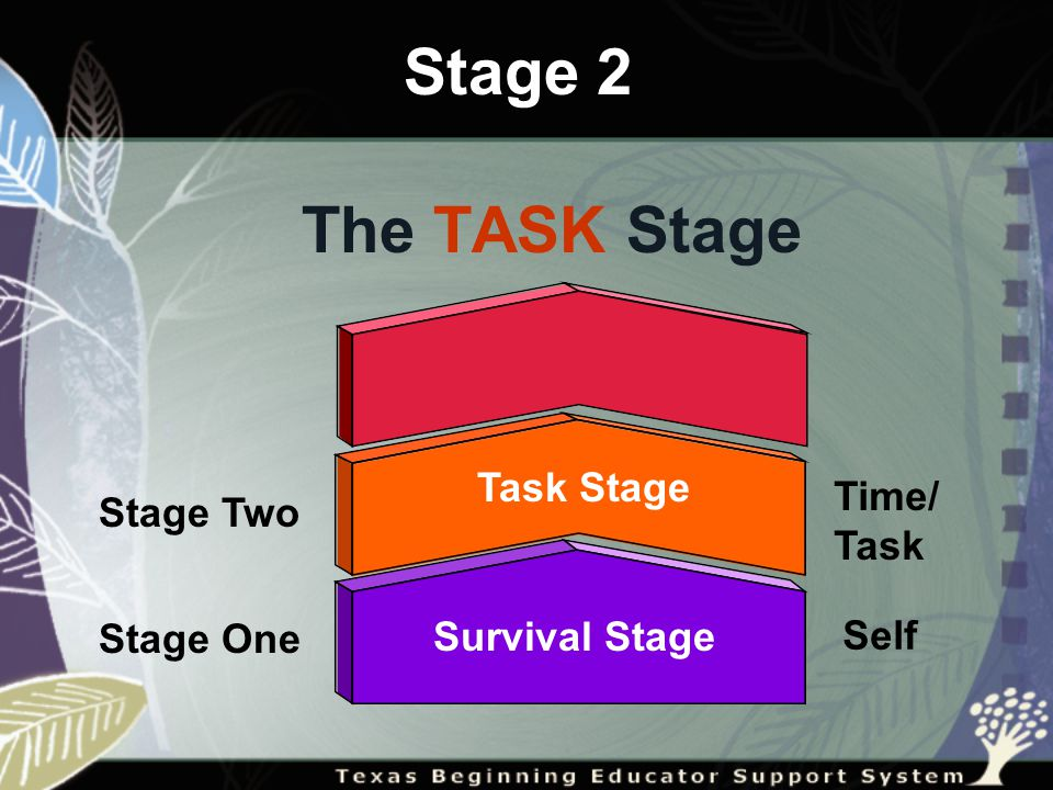 Stage Two Stage One Survival Stage The TASK Stage Task Stage Stage 2 Self Time/ Task