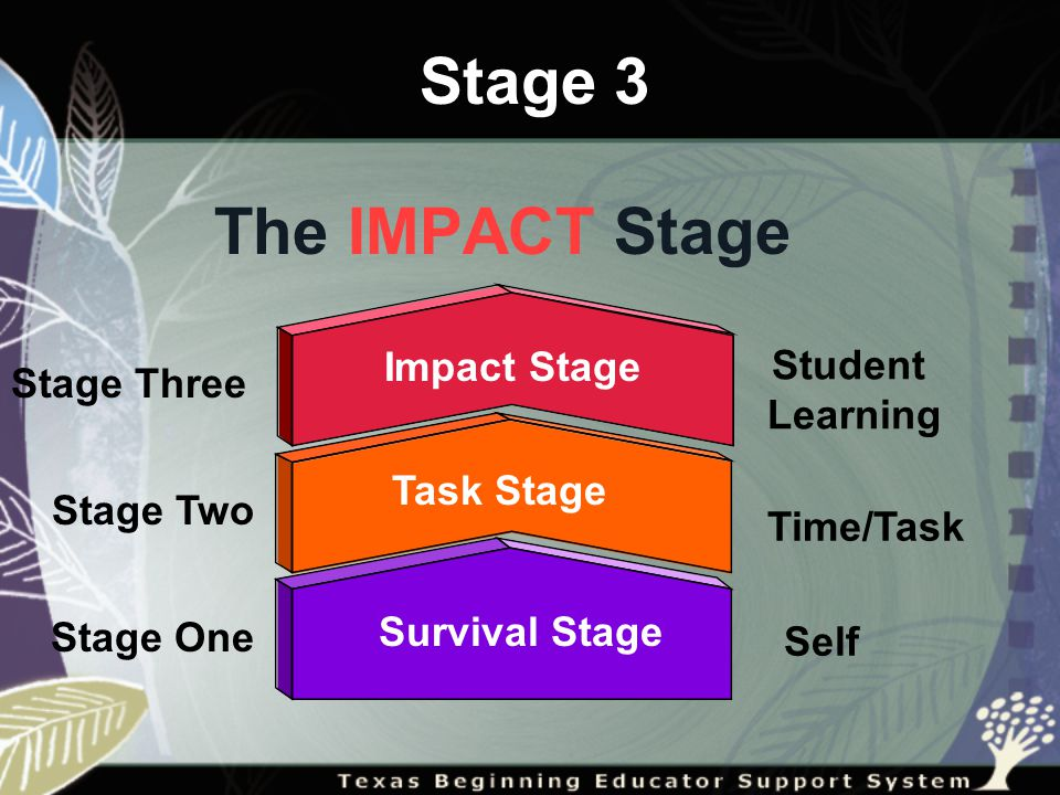 Survival Stage Stage Three Stage Two Stage One Student Learning Time/Task Self The IMPACT Stage Task Stage Impact Stage Stage 3