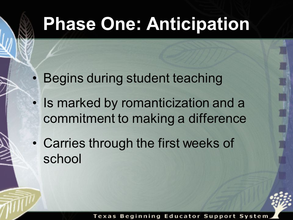 Phase One: Anticipation Begins during student teaching Is marked by romanticization and a commitment to making a difference Carries through the first weeks of school