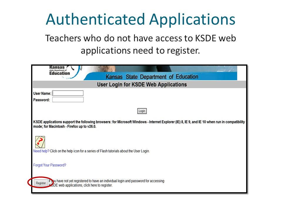 Teachers who do not have access to KSDE web applications need to register.