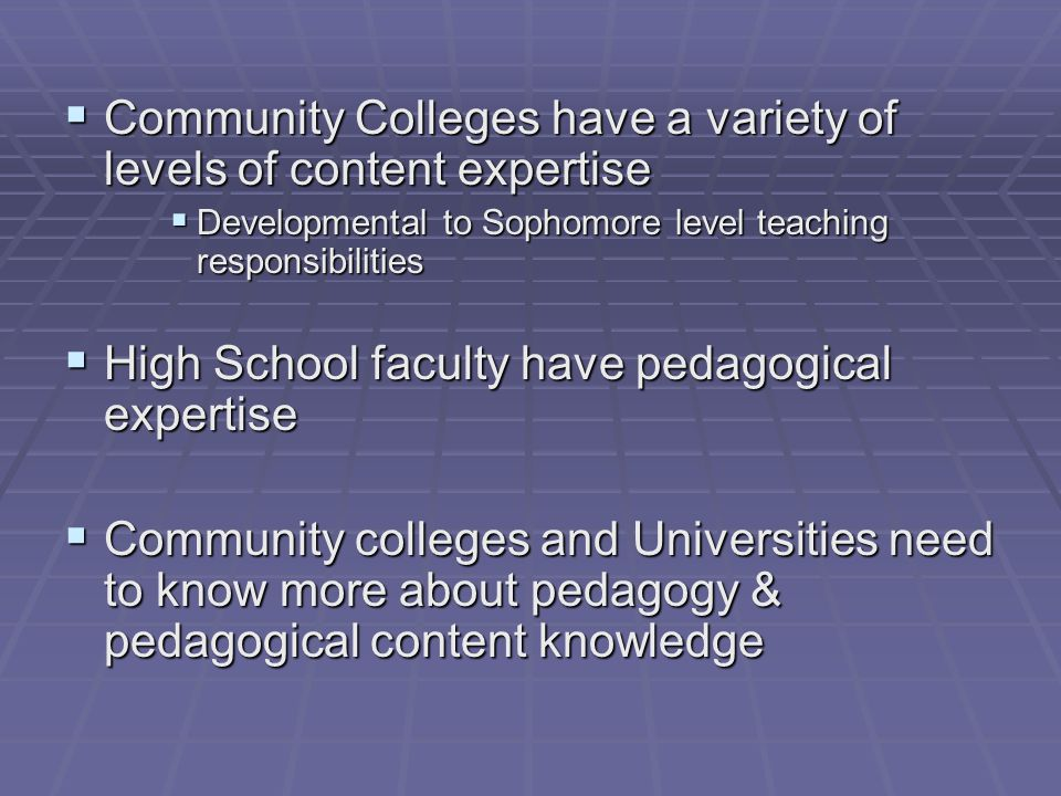  Community Colleges have a variety of levels of content expertise  Developmental to Sophomore level teaching responsibilities  High School faculty have pedagogical expertise  Community colleges and Universities need to know more about pedagogy & pedagogical content knowledge