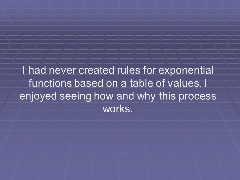 I had never created rules for exponential functions based on a table of values.