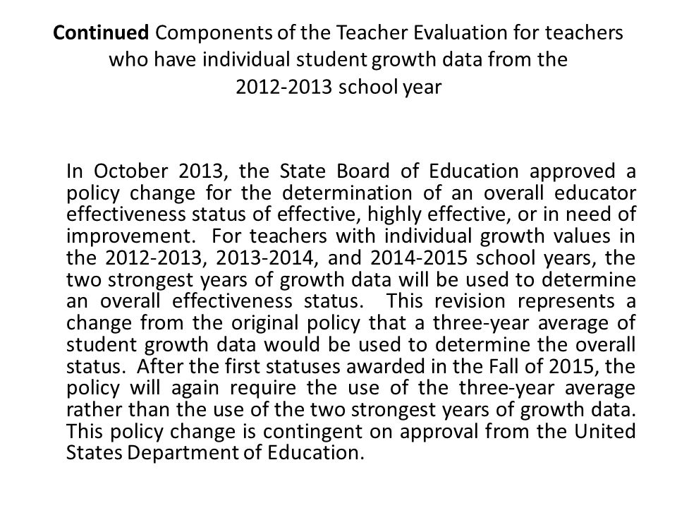Key Components of the Teacher Evaluation 1: Introductory message that explains how a teacher's Standard 6 rating is determined.