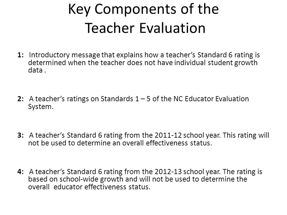 Continued Key Components of the Teacher Evaluation 5: A teacher's Standard 6 ratings from the 2013-14 and 2014-15 school years.