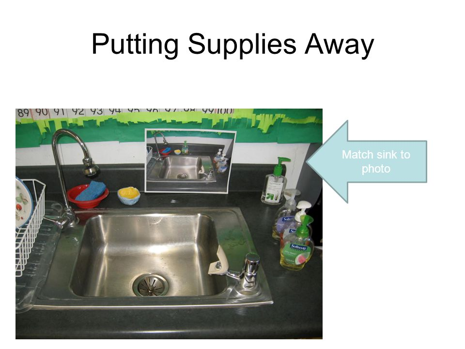 Putting Supplies Away Match sink to photo