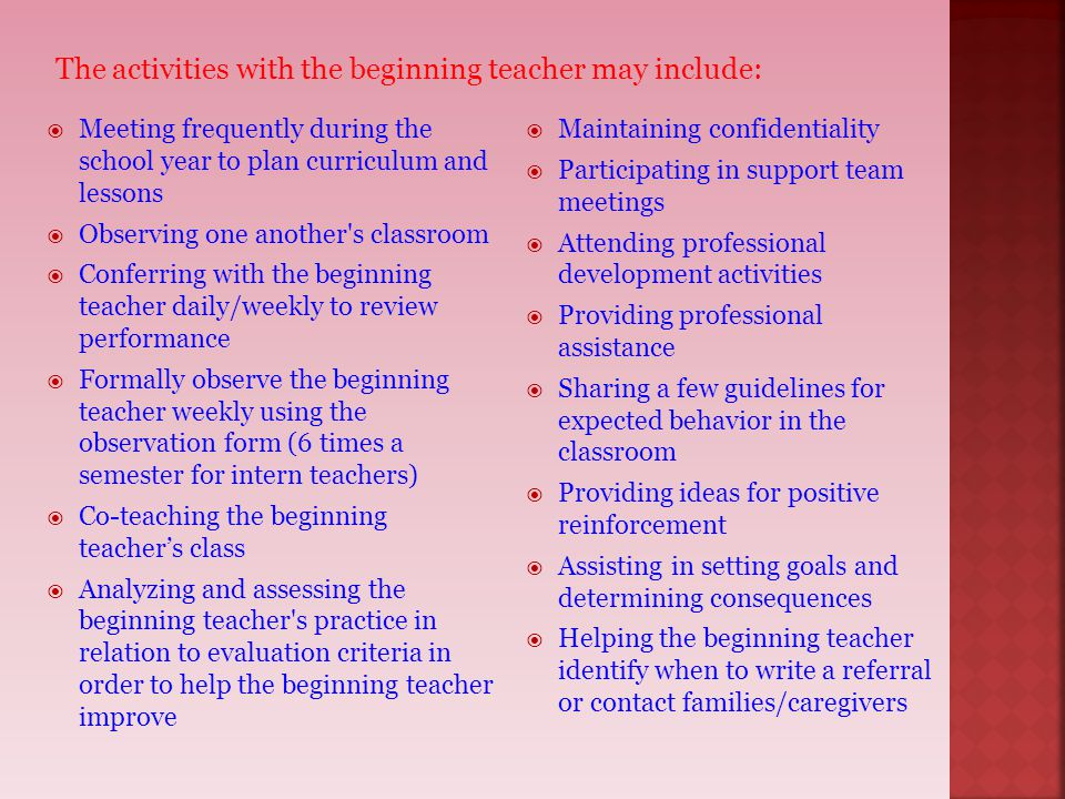 Meeting frequently during the school year to plan curriculum and lessons  Observing one another's classroom  Conferring with the beginning teacher