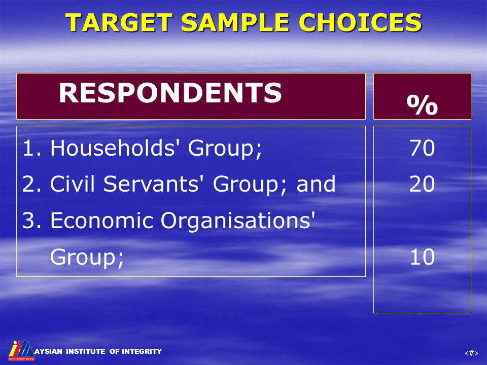 MALAYSIAN INSTITUTE OF INTEGRITY ‹#› TARGET SAMPLE CHOICES 1.Households' Group; 2.Civil Servants' Group; and 3.Economic Organisations' Group; 70 20 10