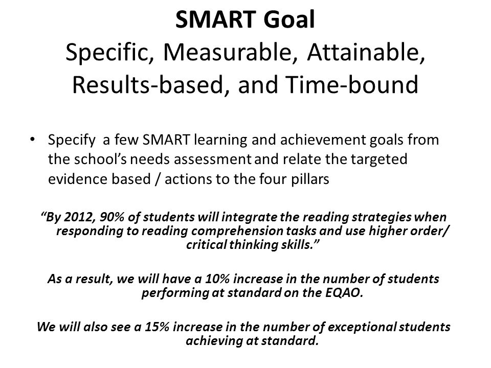 SMART Goal Specific, Measurable, Attainable, Results-based, and Time-bound Specify a few SMART learning and achievement goals from the school's needs assessment and relate the targeted evidence based / actions to the four pillars By 2012, 90% of students will integrate the reading strategies when responding to reading comprehension tasks and use higher order/ critical thinking skills. As a result, we will have a 10% increase in the number of students performing at standard on the EQAO.