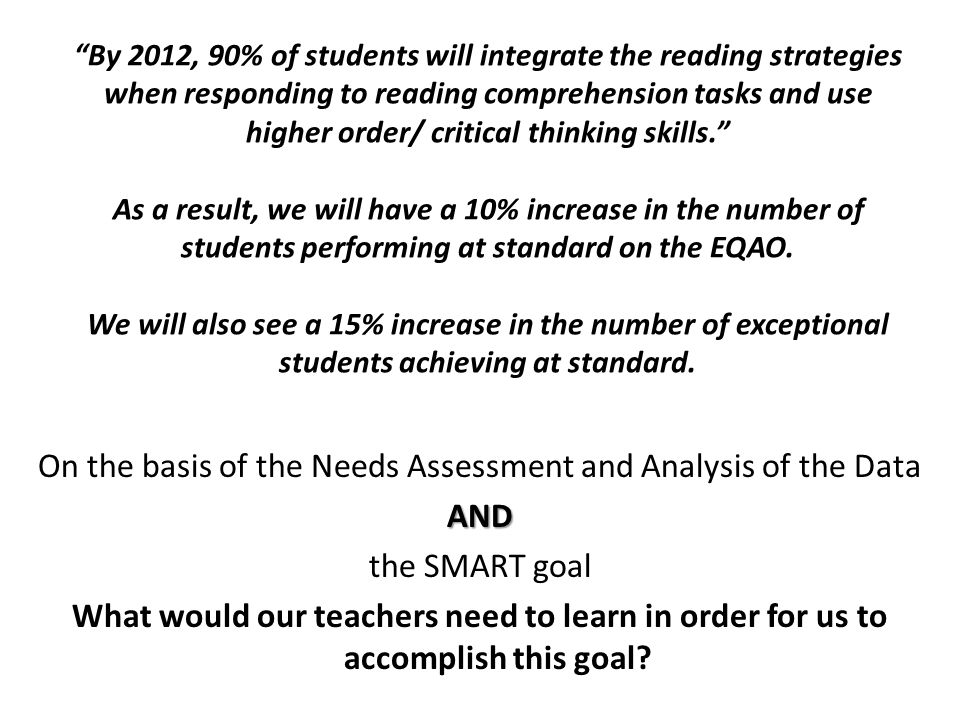 By 2012, 90% of students will integrate the reading strategies when responding to reading comprehension tasks and use higher order/ critical thinking skills. As a result, we will have a 10% increase in the number of students performing at standard on the EQAO.