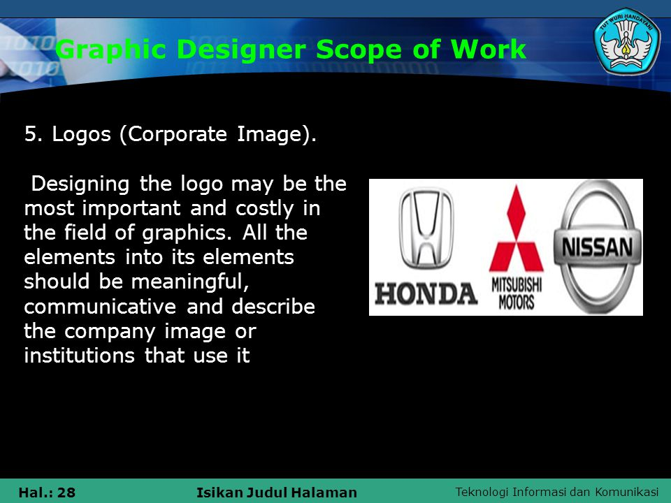 Teknologi Informasi dan Komunikasi Hal.: 28Isikan Judul Halaman Graphic Designer Scope of Work 5. Logos (Corporate Image). Designing the logo may be t