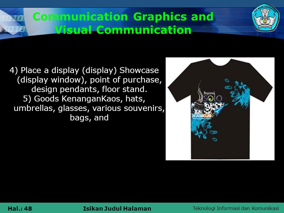 Teknologi Informasi dan Komunikasi Hal.: 48Isikan Judul Halaman Communication Graphics and Visual Communication 4) Place a display (display) Showcase