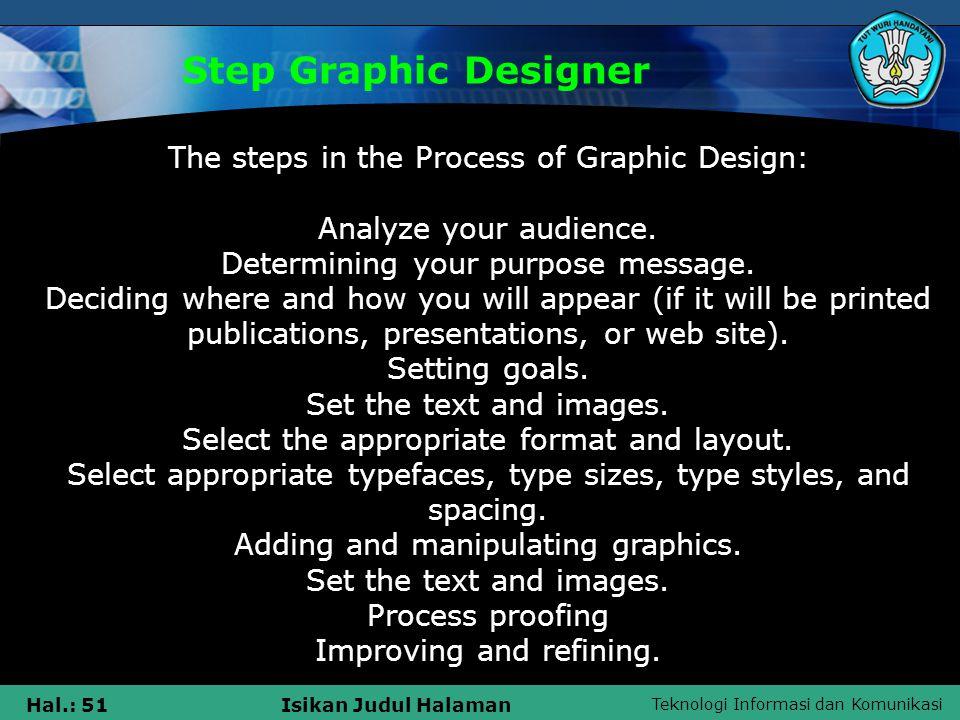 Teknologi Informasi dan Komunikasi Hal.: 51Isikan Judul Halaman Step Graphic Designer The steps in the Process of Graphic Design: Analyze your audience.