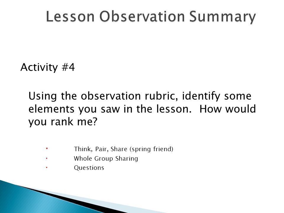 Activity #4 Using the observation rubric, identify some elements you saw in the lesson.