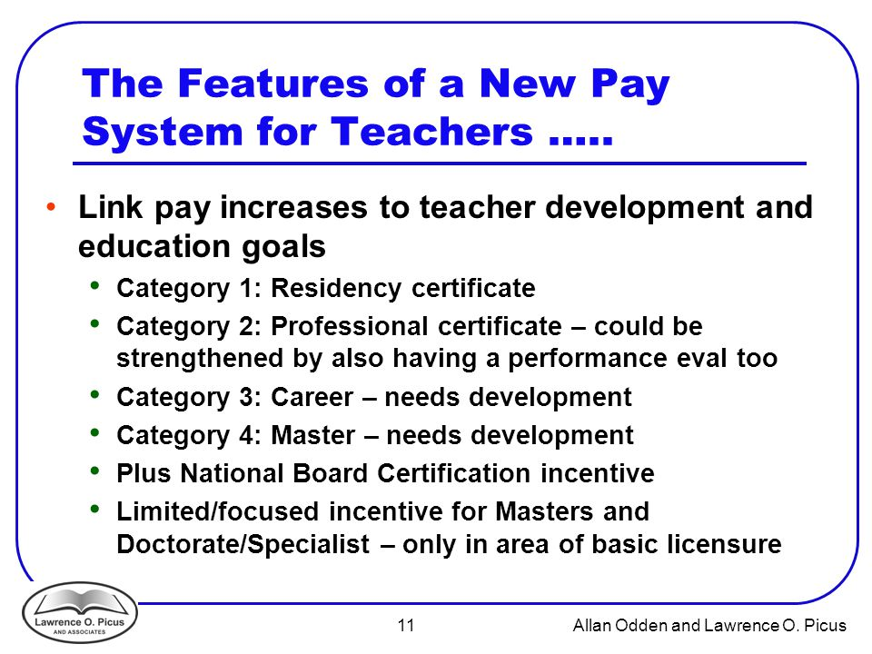 11 Allan Odden and Lawrence O.Picus The Features of a New Pay System for Teachers …..