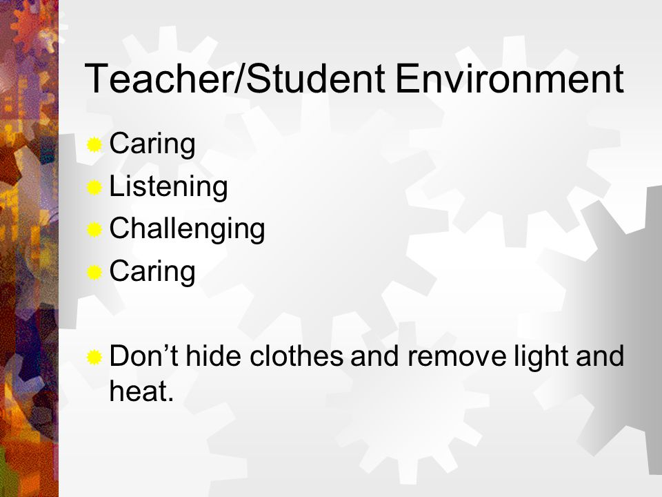 Teacher/Student Environment  Caring  Listening  Challenging  Caring  Don't hide clothes and remove light and heat.