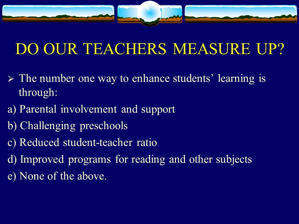 DO OUR TEACHERS MEASURE UP.