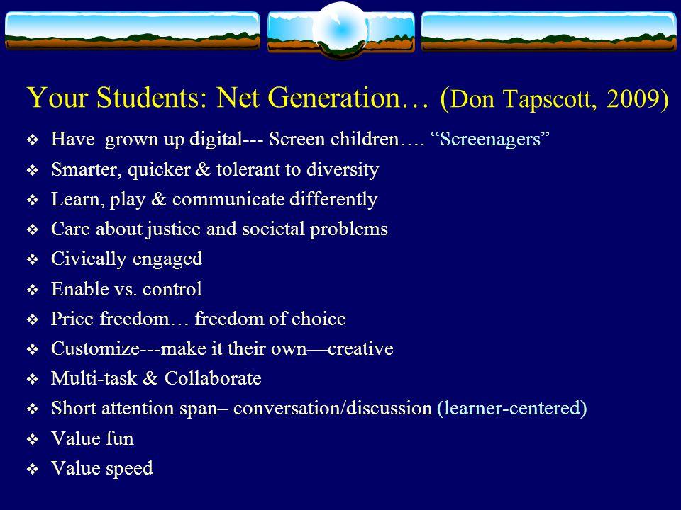 Your Students: Net Generation… ( Don Tapscott, 2009)  Have grown up digital--- Screen children….