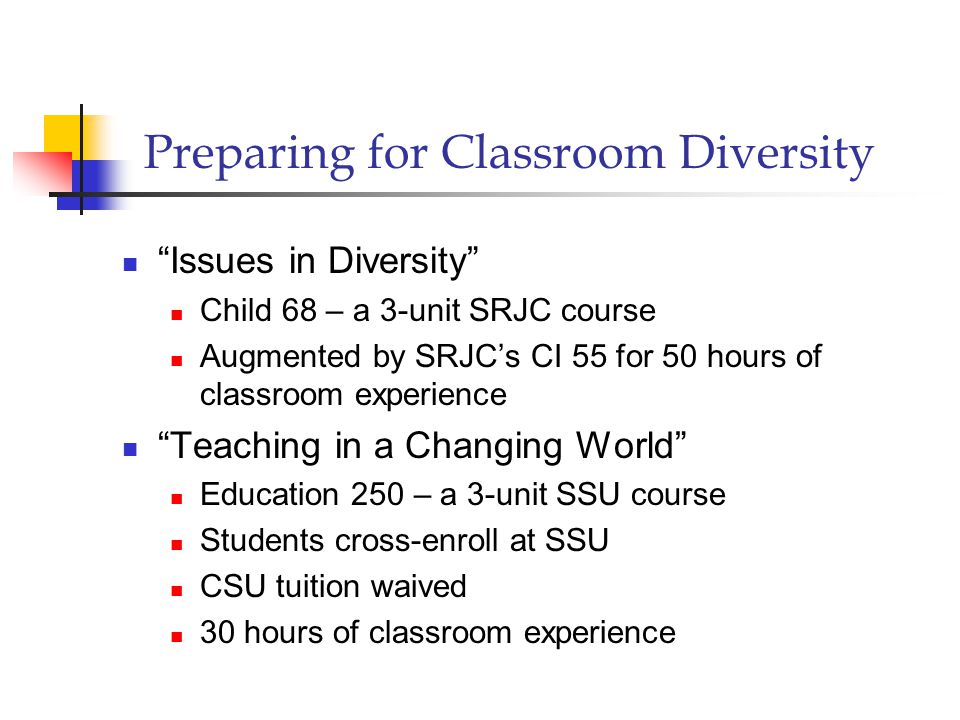 Preparing for Classroom Diversity Issues in Diversity Child 68 – a 3-unit SRJC course Augmented by SRJC's CI 55 for 50 hours of classroom experience Teaching in a Changing World Education 250 – a 3-unit SSU course Students cross-enroll at SSU CSU tuition waived 30 hours of classroom experience