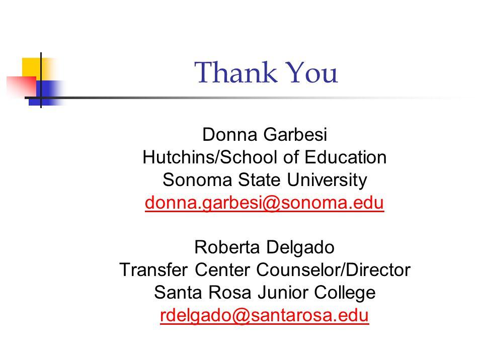 Thank You Donna Garbesi Hutchins/School of Education Sonoma State University donna.garbesi@sonoma.edu Roberta Delgado Transfer Center Counselor/Director Santa Rosa Junior College rdelgado@santarosa.edu