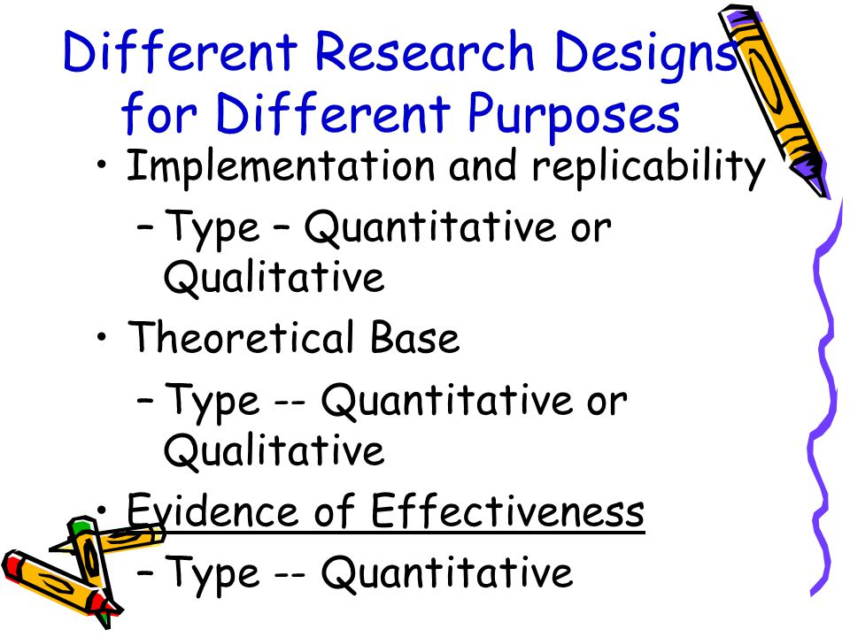 Different Research Designs for Different Purposes Implementation and replicability –Type – Quantitative or Qualitative Theoretical Base –Type -- Quantitative or Qualitative Evidence of Effectiveness –Type -- Quantitative