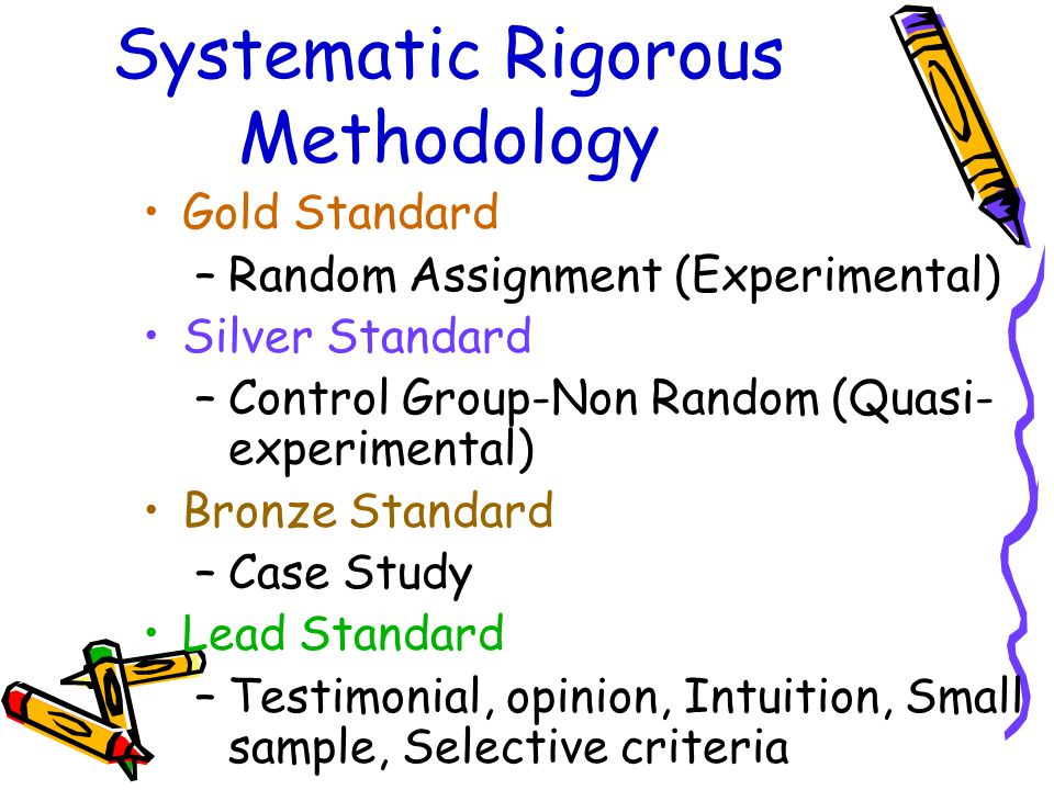 Systematic Rigorous Methodology Gold Standard –Random Assignment (Experimental) Silver Standard –Control Group-Non Random (Quasi- experimental) Bronze Standard –Case Study Lead Standard –Testimonial, opinion, Intuition, Small sample, Selective criteria