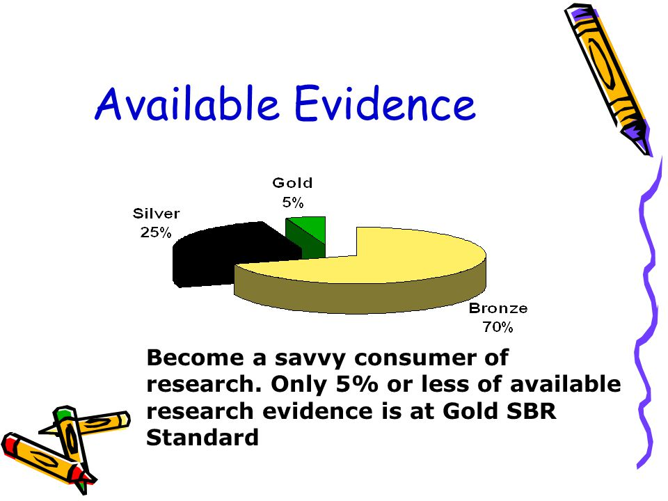 Available Evidence Become a savvy consumer of research.