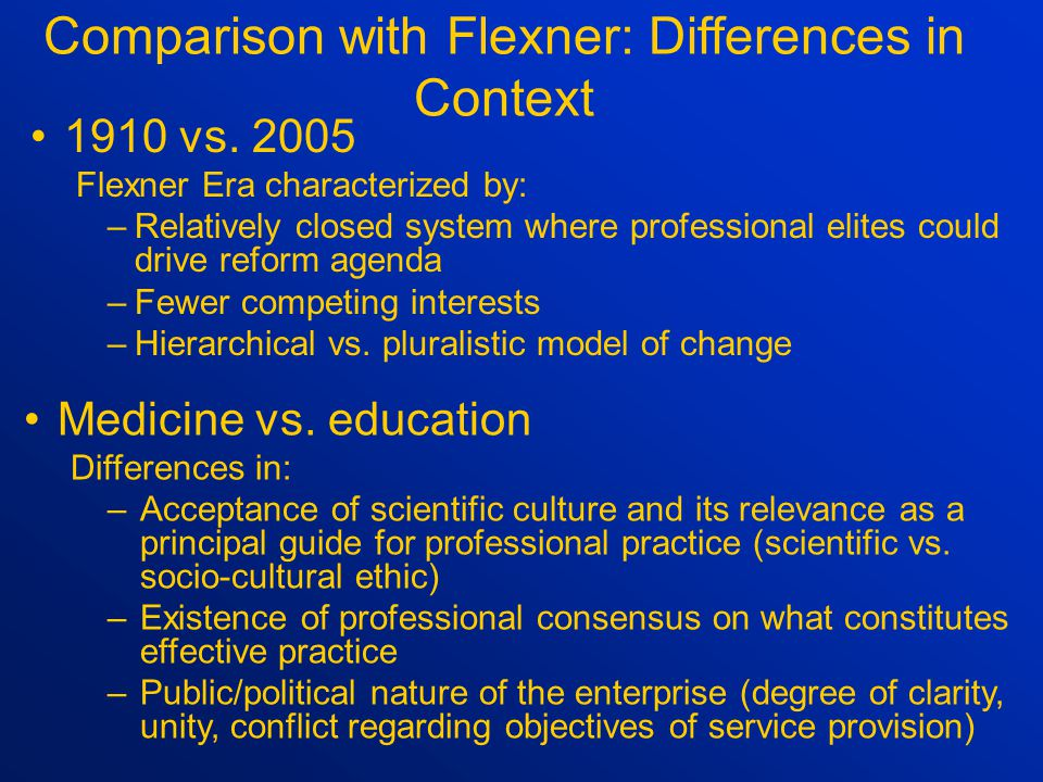 Comparison with Flexner: Similarities in Context Period of ferment and questioning regarding the quality of education and training for the profession Belief that professional school requirements for program entry and exit frequently too low Belief that professional school program offerings vary greatly and are frequently inadequate to ensure high quality professional practice Belief that these conditions lead to serious deficiencies and inequities in the quality of professional services rendered