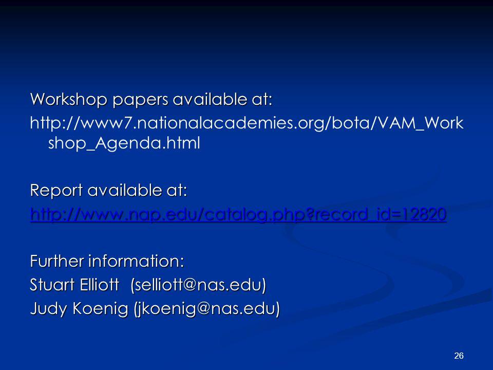 26 Workshop papers available at: http://www7.nationalacademies.org/bota/VAM_Work shop_Agenda.html Report available at: http://www.nap.edu/catalog.php record_id=12820 Further information: Stuart Elliott (selliott@nas.edu) Judy Koenig (jkoenig@nas.edu)