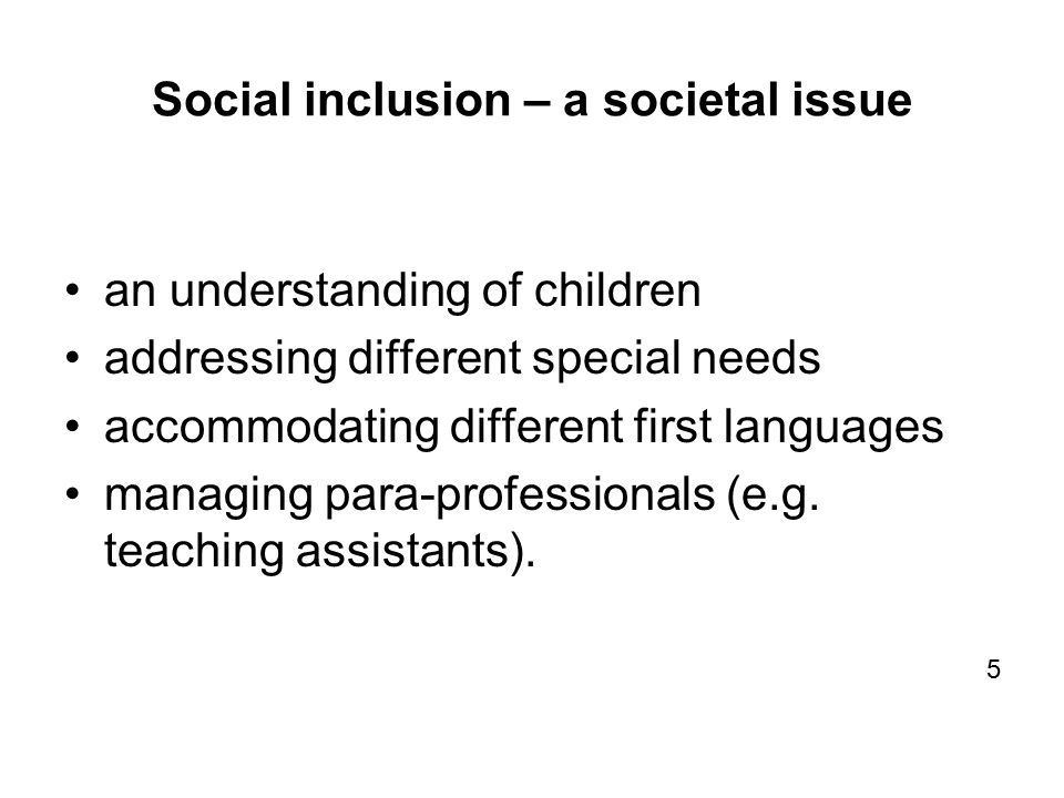 Social inclusion – a societal issue an understanding of children addressing different special needs accommodating different first languages managing para-professionals (e.g.
