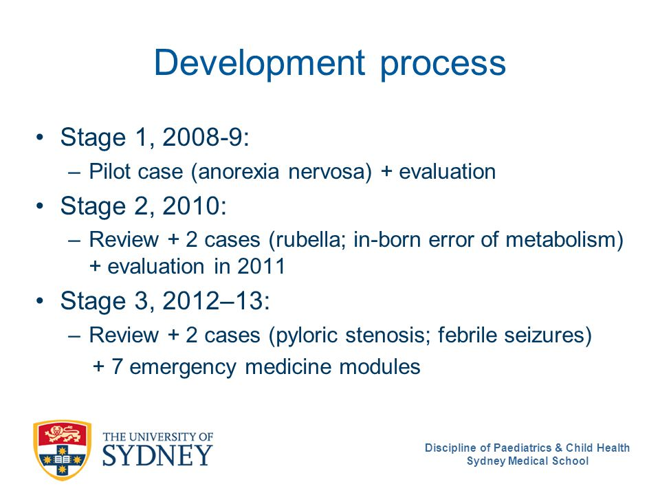 Discipline of Paediatrics & Child Health Sydney Medical School Development process Stage 1, 2008-9: –Pilot case (anorexia nervosa) + evaluation Stage 2, 2010: –Review + 2 cases (rubella; in-born error of metabolism) + evaluation in 2011 Stage 3, 2012–13: –Review + 2 cases (pyloric stenosis; febrile seizures) + 7 emergency medicine modules