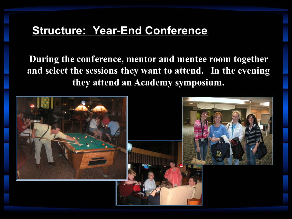 During the conference, mentor and mentee room together and select the sessions they want to attend.