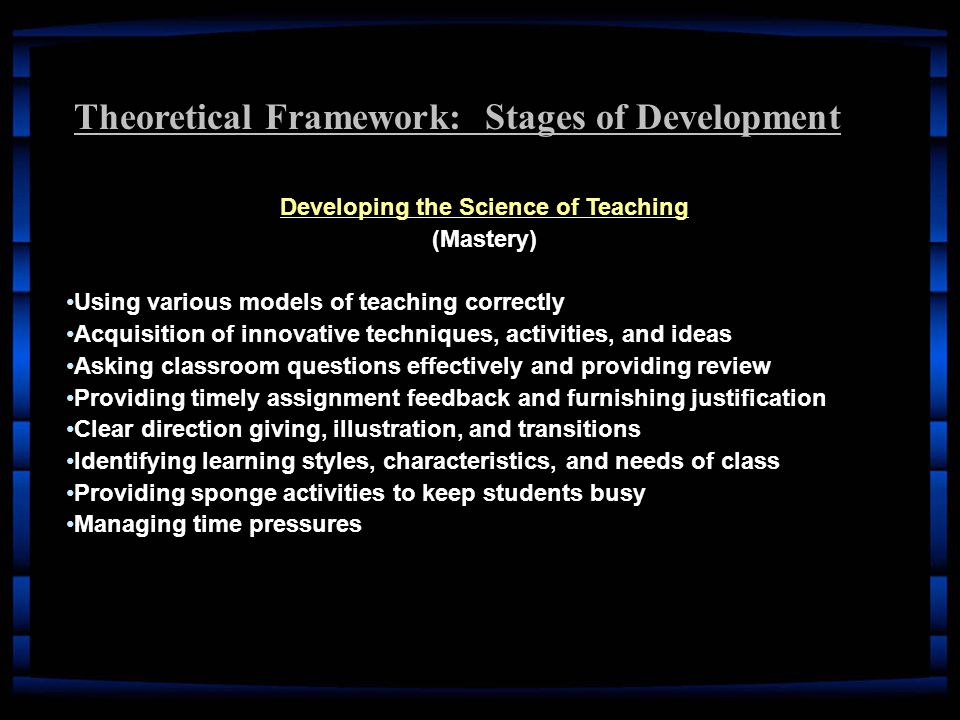 Theoretical Framework: Stages of Development Developing the Science of Teaching (Mastery) Using various models of teaching correctlyUsing various models of teaching correctly Acquisition of innovative techniques, activities, and ideasAcquisition of innovative techniques, activities, and ideas Asking classroom questions effectively and providing reviewAsking classroom questions effectively and providing review Providing timely assignment feedback and furnishing justificationProviding timely assignment feedback and furnishing justification Clear direction giving, illustration, and transitionsClear direction giving, illustration, and transitions Identifying learning styles, characteristics, and needs of classIdentifying learning styles, characteristics, and needs of class Providing sponge activities to keep students busyProviding sponge activities to keep students busy Managing time pressuresManaging time pressures