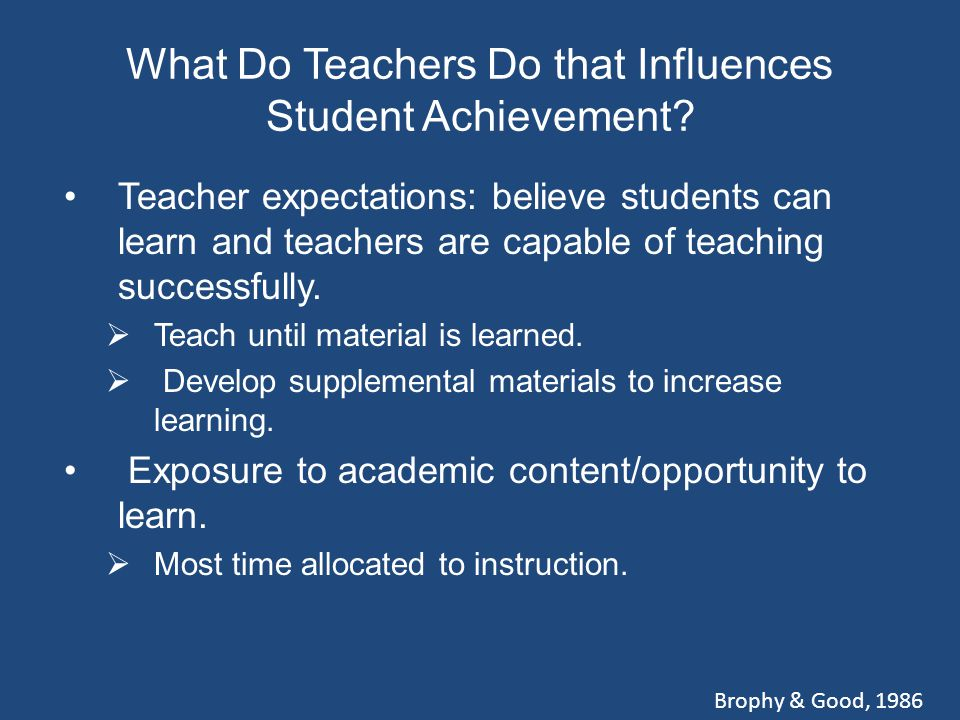 What Do Teachers Do that Influences Student Achievement.