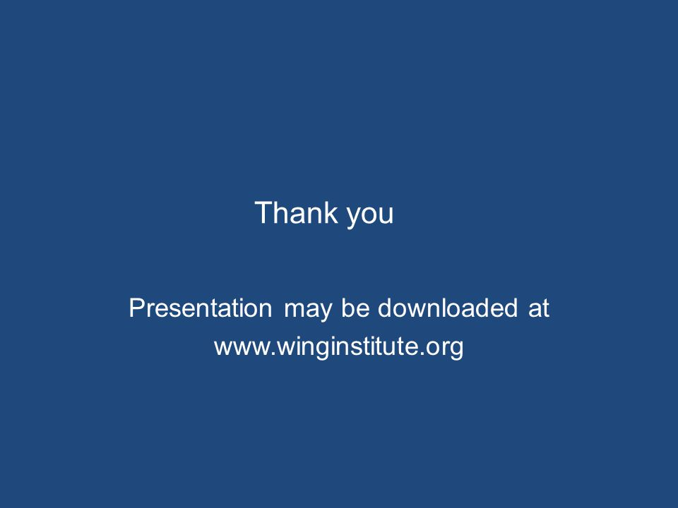 Thank you Presentation may be downloaded at www.winginstitute.org