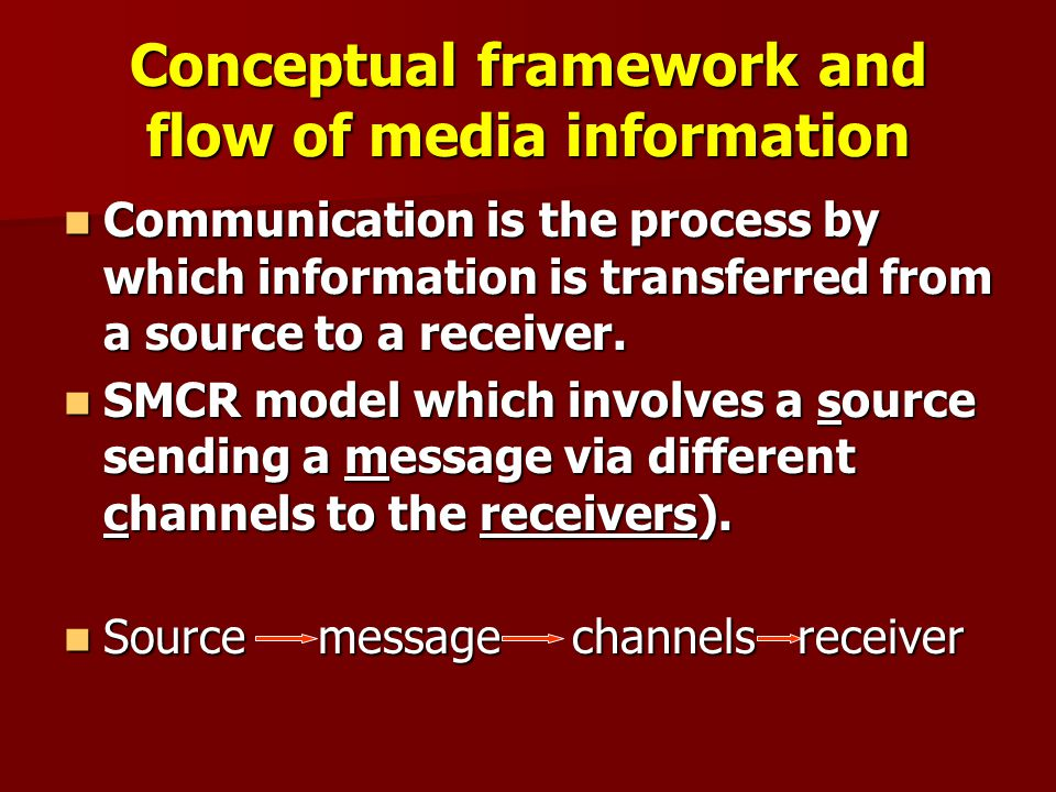 Conceptual framework and flow of media information Communication is the process by which information is transferred from a source to a receiver.