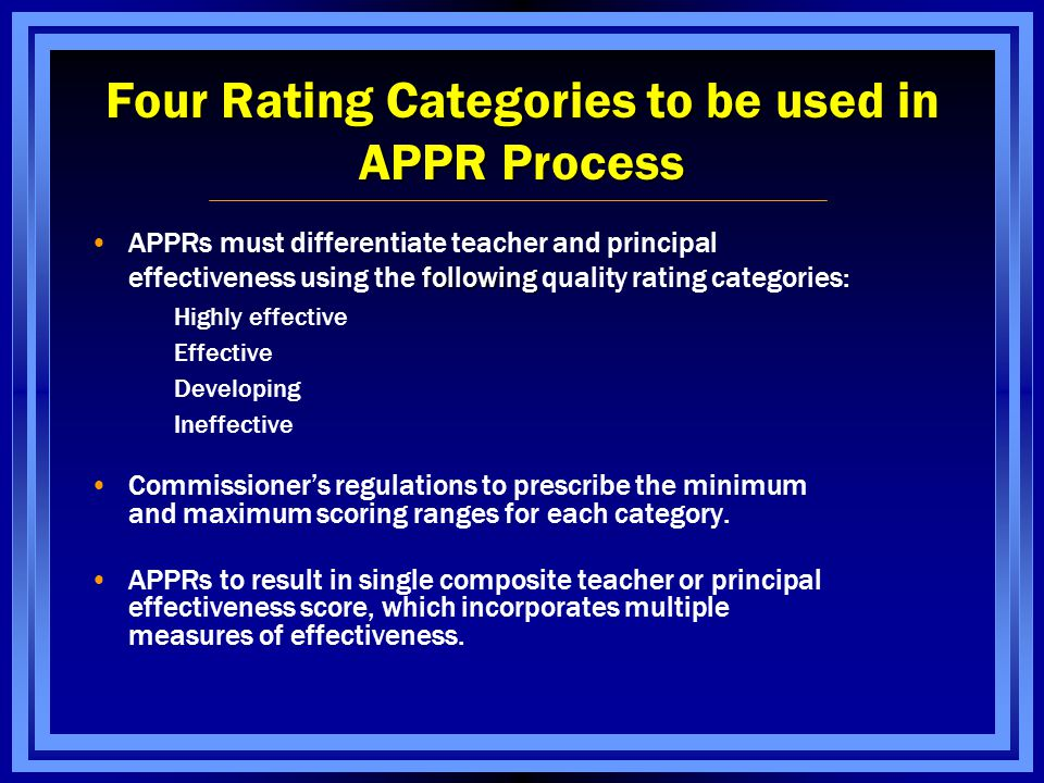 APPRs must differentiate teacher and principal following effectiveness using the following quality rating categories: Highly effective Effective Developing Ineffective Commissioner's regulations to prescribe the minimum and maximum scoring ranges for each category.
