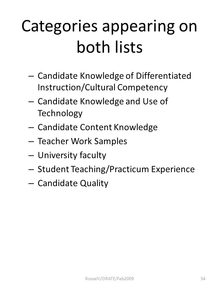 Categories appearing on both lists – Candidate Knowledge of Differentiated Instruction/Cultural Competency – Candidate Knowledge and Use of Technology