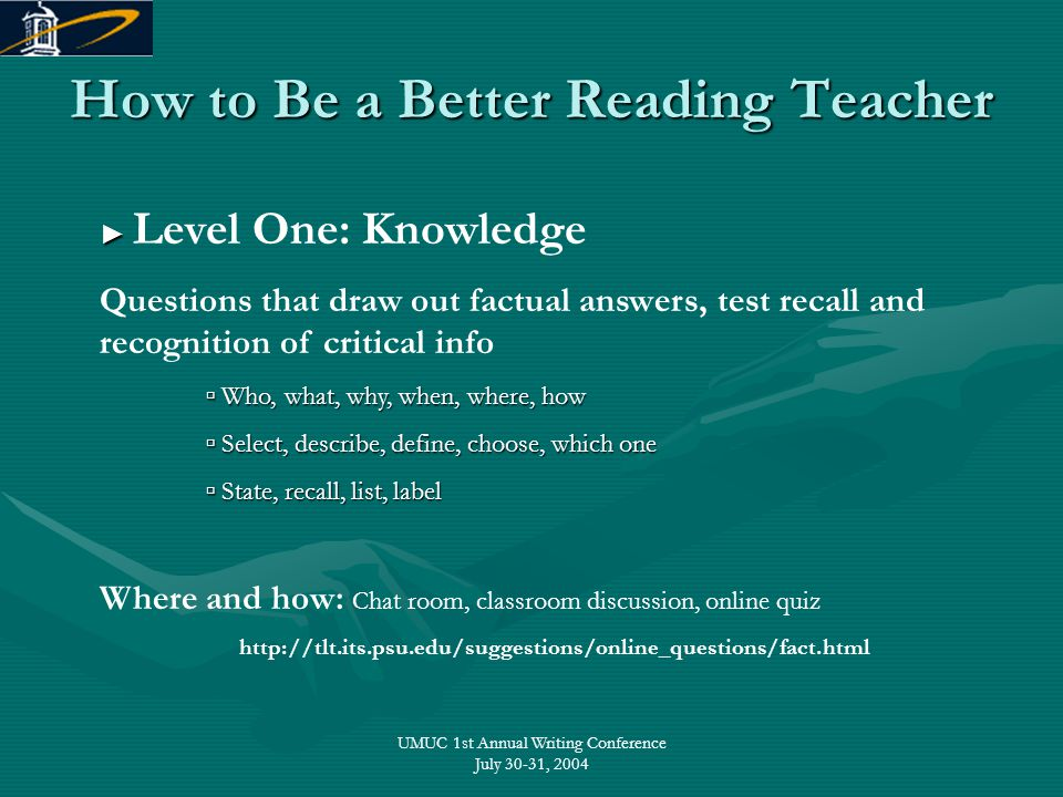 UMUC 1st Annual Writing Conference July 30-31, 2004 How to Be a Better Reading Teacher ► ► Level One: Knowledge Questions that draw out factual answer