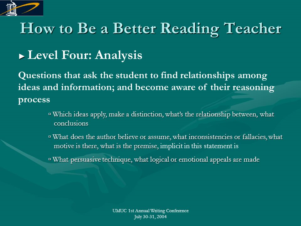 UMUC 1st Annual Writing Conference July 30-31, 2004 How to Be a Better Reading Teacher ► ► Level Four: Analysis Questions that ask the student to find
