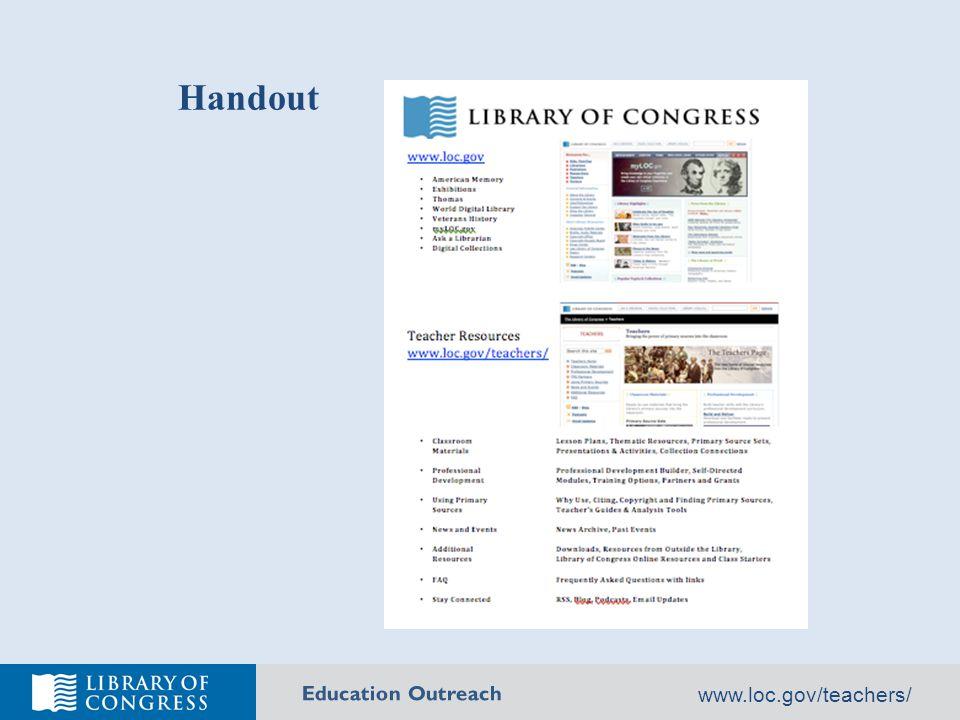 Education Outreach www.loc.gov/teachers/