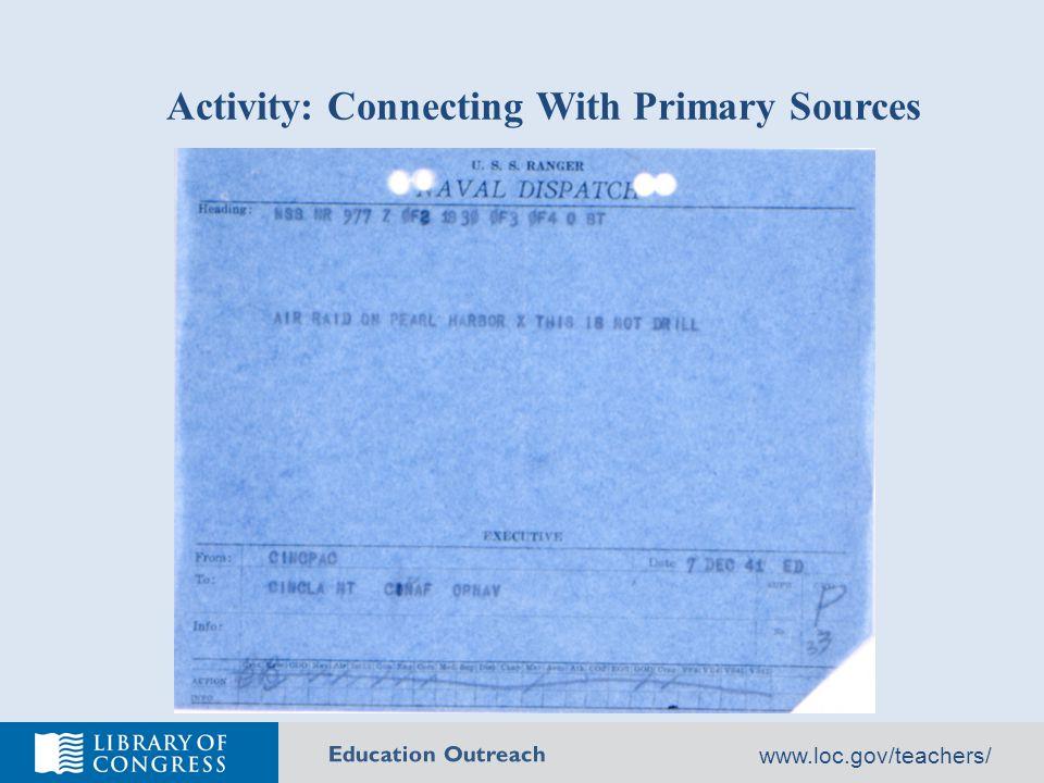 Education Outreach www.loc.gov/teachers/ LOC Primary Sources