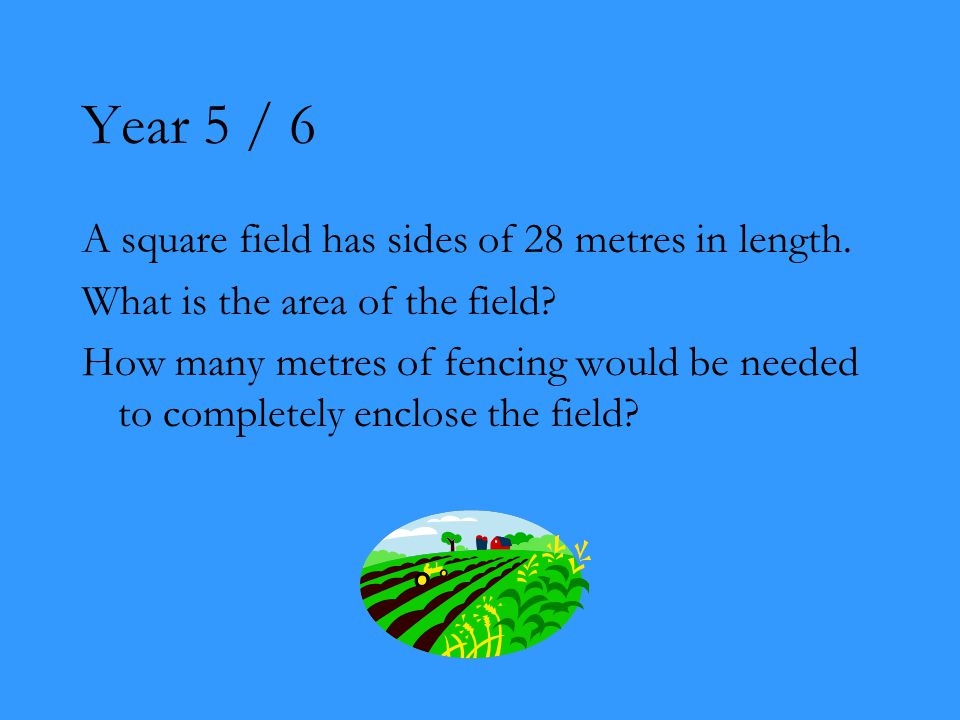 Year 5 / 6 A square field has sides of 28 metres in length.