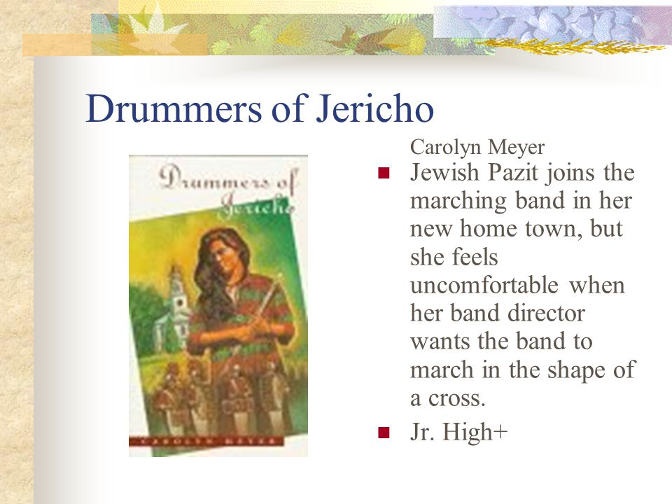 Drummers of Jericho Jewish Pazit joins the marching band in her new home town, but she feels uncomfortable when her band director wants the band to march in the shape of a cross.