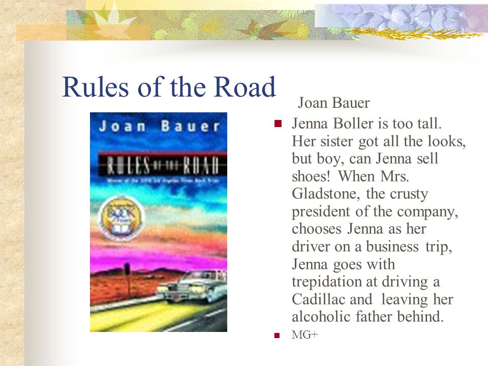 Rules of the Road Jenna Boller is too tall.