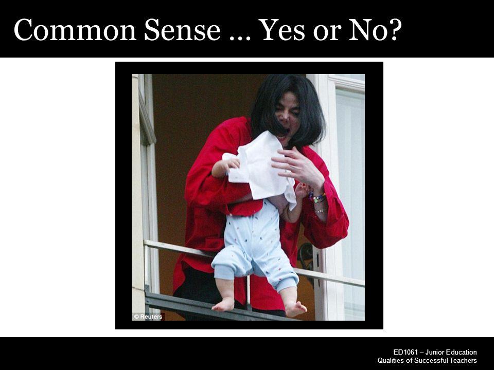 Common Sense … Yes or No? ED1061 – Junior Education Qualities of Successful Teachers