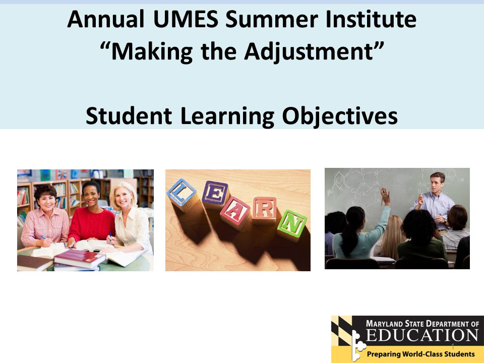 Annual UMES Summer Institute Making the Adjustment Student Learning Objectives 1