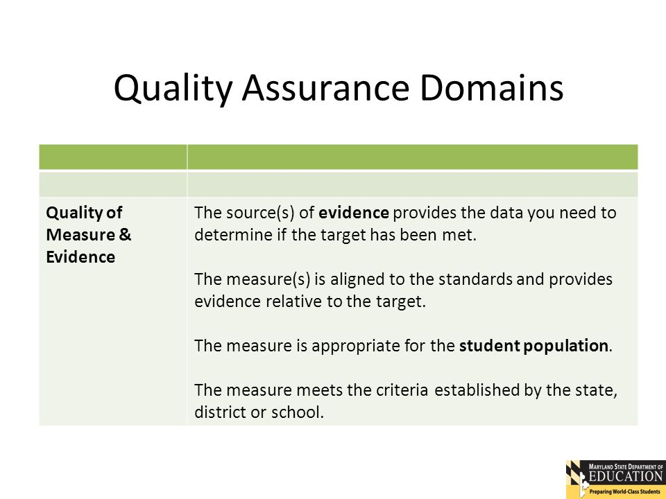 Quality Assurance Domains Quality of Measure & Evidence The source(s) of evidence provides the data you need to determine if the target has been met.