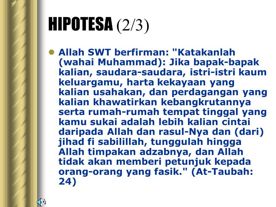 HIPOTESA (1/3) Allah tidak akan menimpakan suatu malapetaka pada suatu negara melainkan dengan sebab