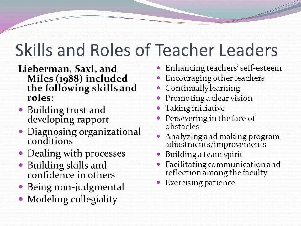 Skills and Roles of Teacher Leaders Lieberman, Saxl, and Miles (1988) included the following skills and roles: Building trust and developing rapport D