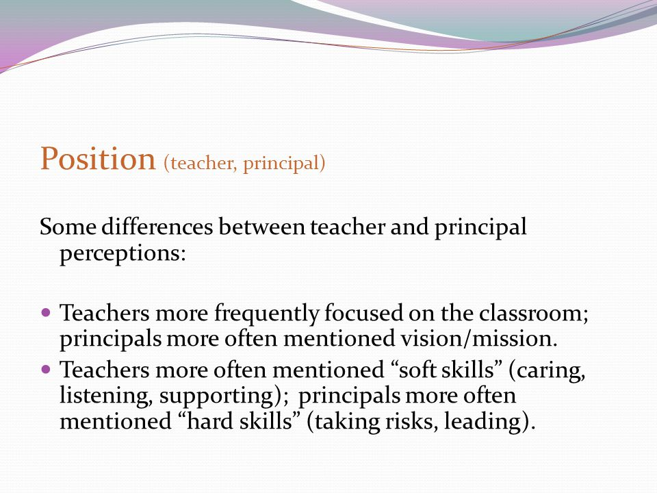 Position (teacher, principal) Some differences between teacher and principal perceptions: Teachers more frequently focused on the classroom; principal